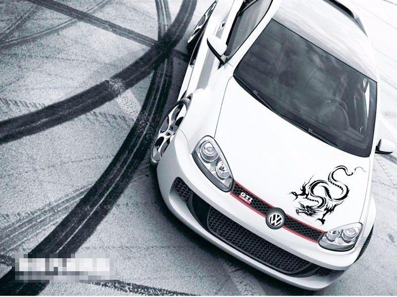 1 seat truck vehical motor racing Car sport power auto black dragon head Vinyl emblem sticker Decals FOR motor hood side