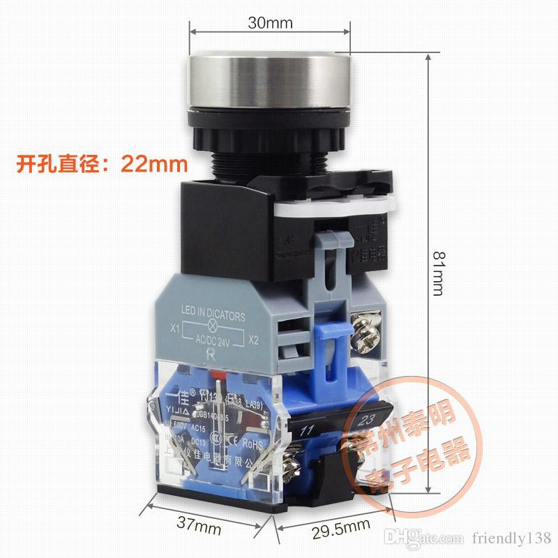 LA38-11E LED-Anzeige Drucktastenschalter Wasserdichte 304 Edelstahl 1NO 1NC 22mm Momentary Switch Selbsthemmung oder Selbstrücksetzung