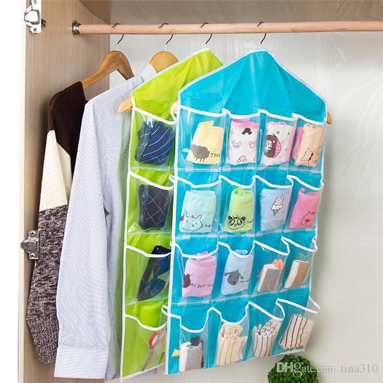 L size 16 lattice Underwear storage bag Small items hanging bag Behind the wall door Debris Stuff bag IA838