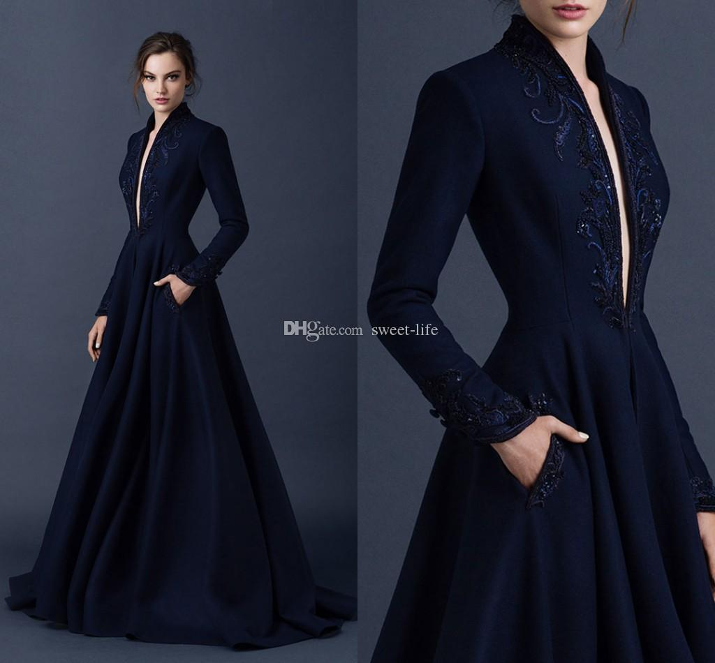 Navy Blue Satin Evening Dresses Embroidery Paolo Sebastian Dresses Custom Made Beaded Formal Party Wear Ball Gown Plunging V Neck Ball Gowns