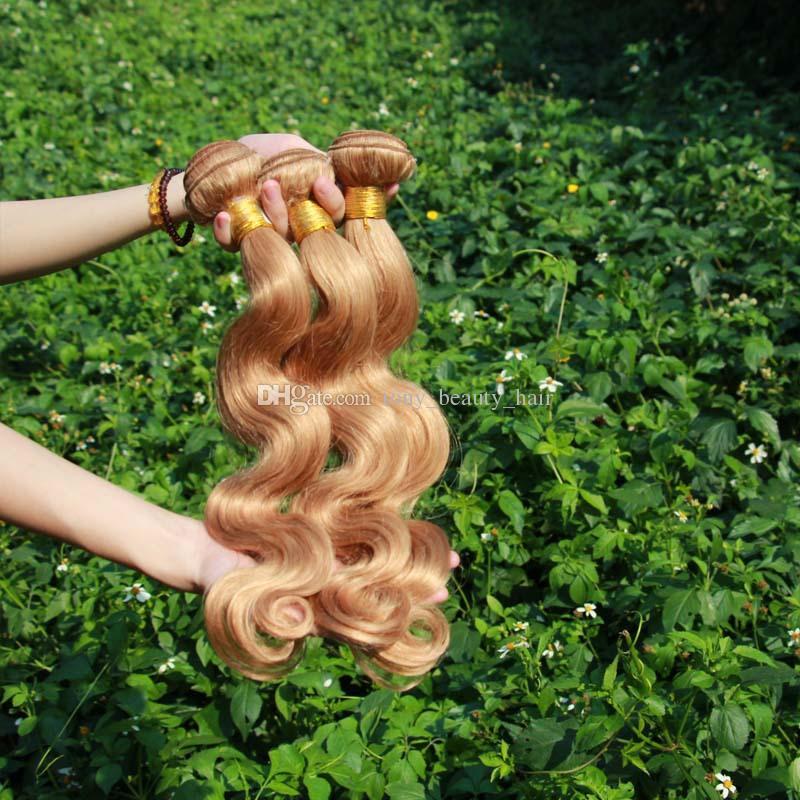 Miel rubia pelo brasileño Onda corporal 3 piezas Lote 100% armadura de cabello humano Paquetes ondulados Color puro 27 # Extensión de cabello marrón claro