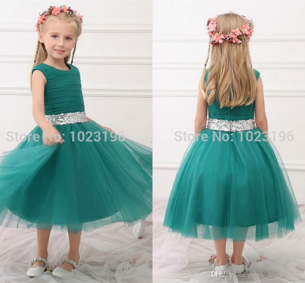 New 2016 Real Princess Green Flower Girl Dresses Sequins Sash Tea ...
