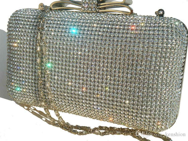 2016 Net Diamond Encrusted Box Clutch Sequin Evening Bag Women Purse with Metal Frame Crystal Bow Clasp Hollow Out - XP035
