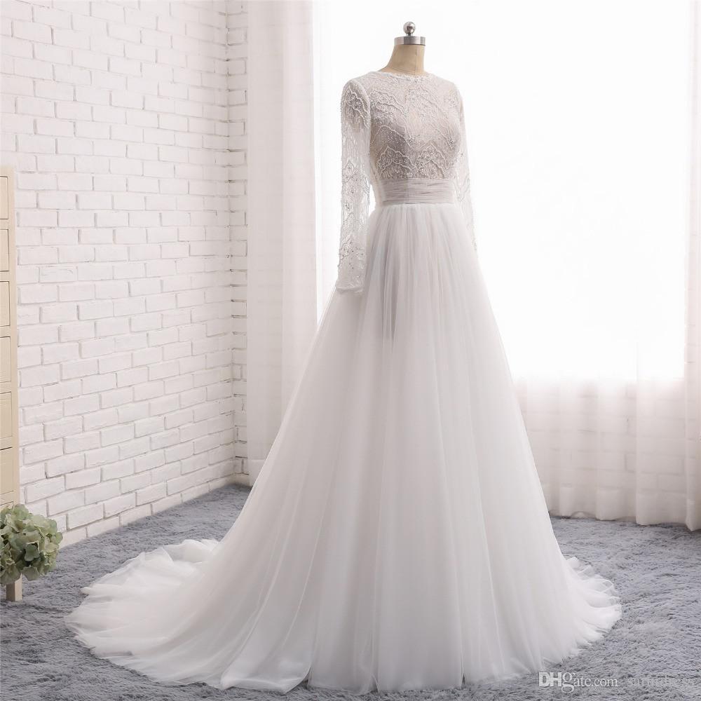 Vestidos De Novia New Fashion Wedding Suknie O-Neck Długie Rękawy Court Train Lace Tulle A-Line Chiny Suknie ślubne