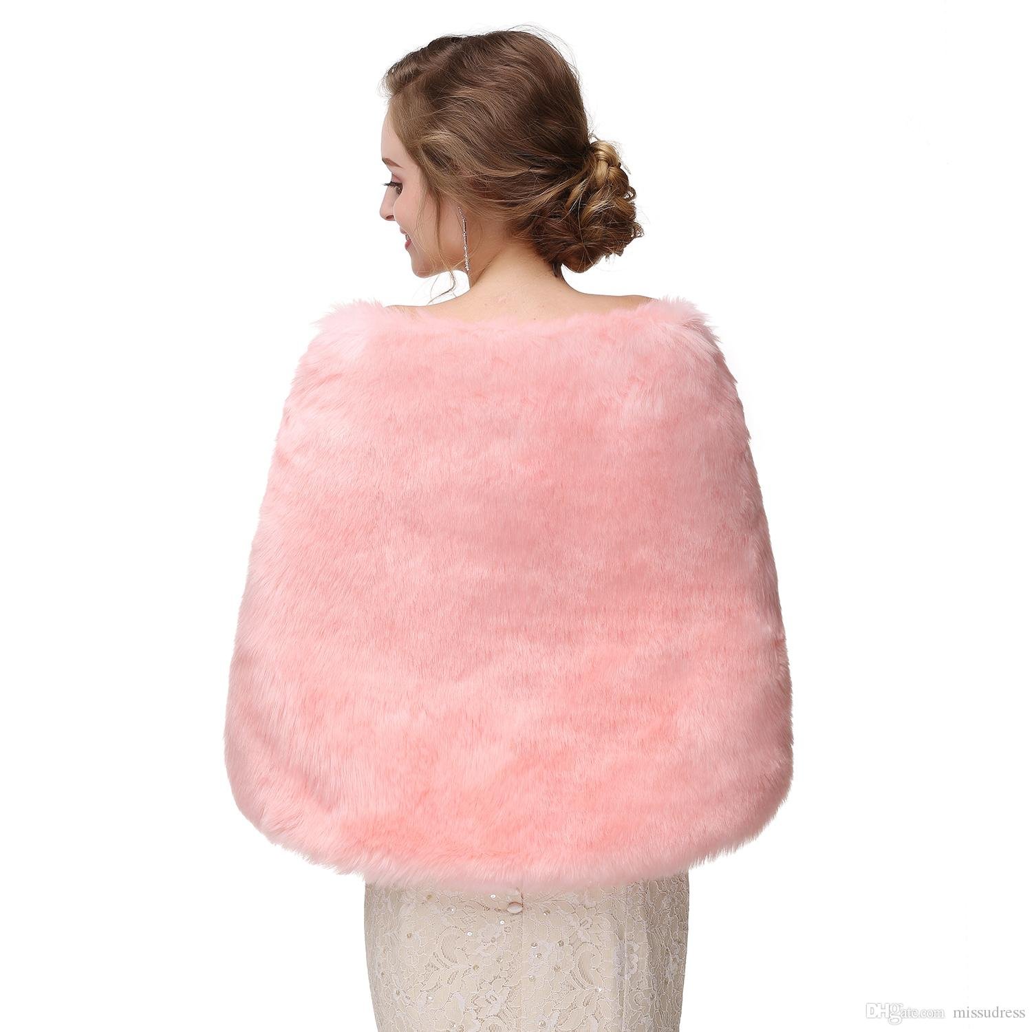 2017 New Arrival Faux Fur Pink Winter Bridal Jacket Warm Boleros Luxurious Wedding Bride Wraps Cape Wedding Jacket