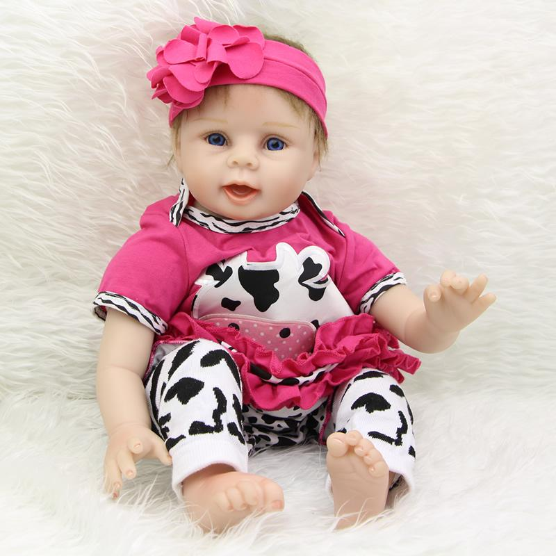 22 inch reborn silicone baby dolls girl soft touch newborn girls doll wearing red rose milk cow set children birthday xmas gift online with 195 64 piece on