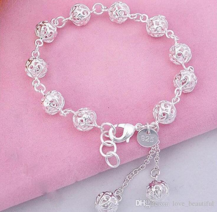 Low price Promotion! Mark 925 Girl / Madam Hollow ball Bracelet 925 Sterling Silver Jewelry 8mm 19cm Chains