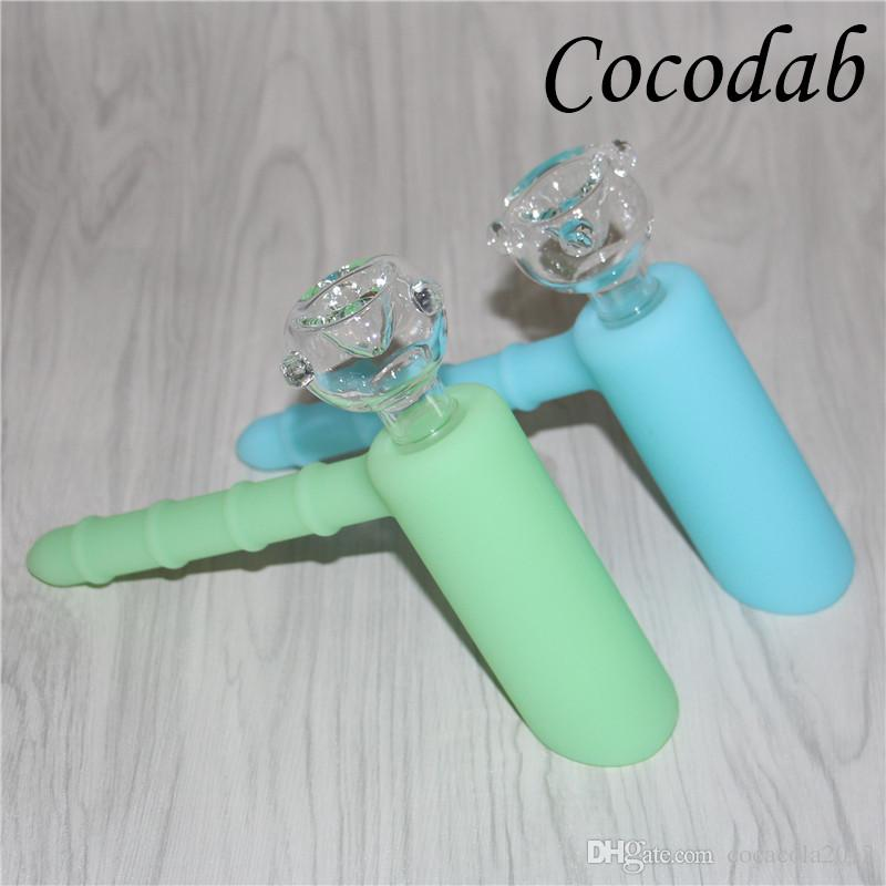 Mini Glow in dark Silicone Hammer Bongs 6 holes Glass Percolator Portable bongs pipes bubbler with 18.8mm Glass Bowl DHL