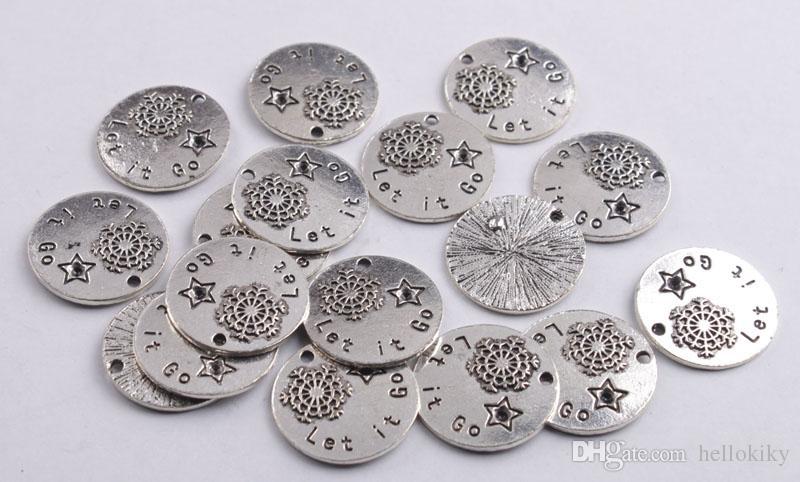 10 pendentifs de charme en aphorisme en métal argenté vieilli avec divers mots pour le marquage de bijoux bricolage