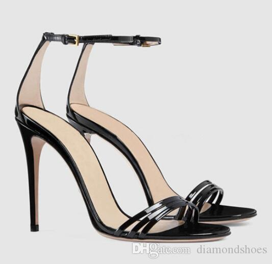 Verão Novas Mulheres Tira No Tornozelo Sandálias De Salto Alto Stiletto Luxo Big Bowtie Strass Sexy Vestido de Festa Sapatos de Casamento Sapatos