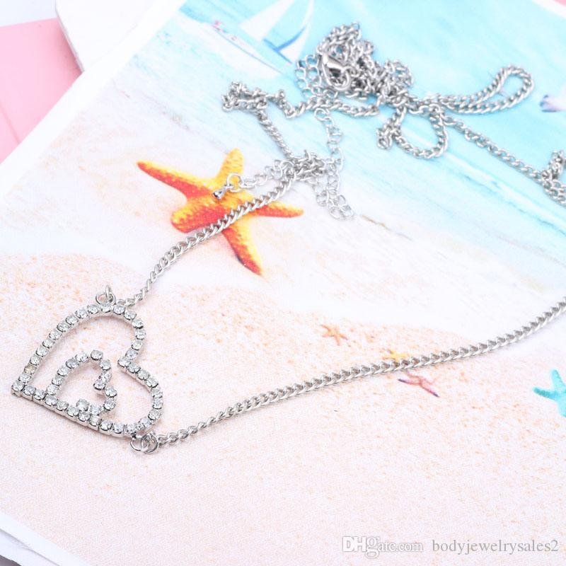 Duplo Coração Rhinestone Barriga Cadeia e Parte Inferior das mulheres da moda cintura cadeia de jóias corpo Da Menina Da Praia jóias