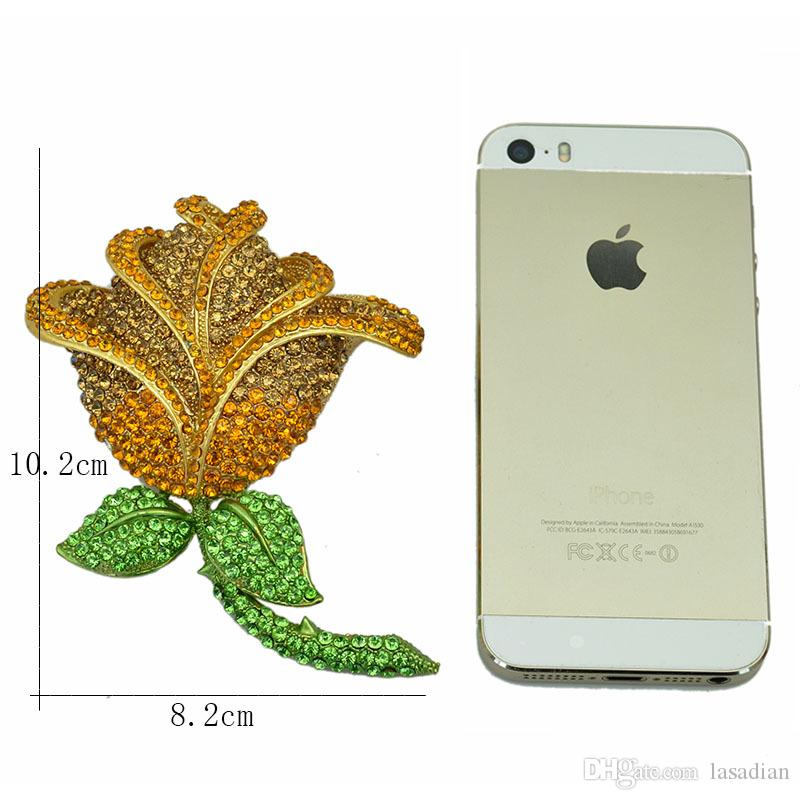 europe latest fashion style big yellow rose brooch with advanced rhinestone vintage brooches pins for women wholesale
