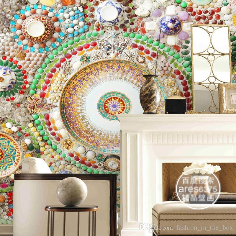 Großhandel Bohemian Tapete 3D Wandbild Schlafzimmer Jade Mosaik ...