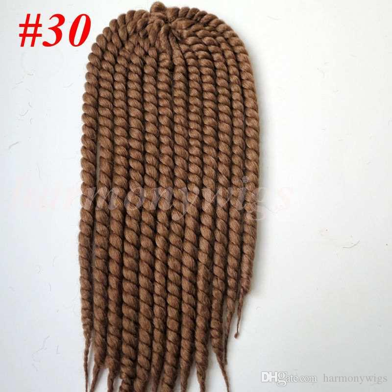 Kanekalon synthetic braiding hair havana mambo twist crochet 110g 18inch single Ombre color jumbo braids hair extensions more colors