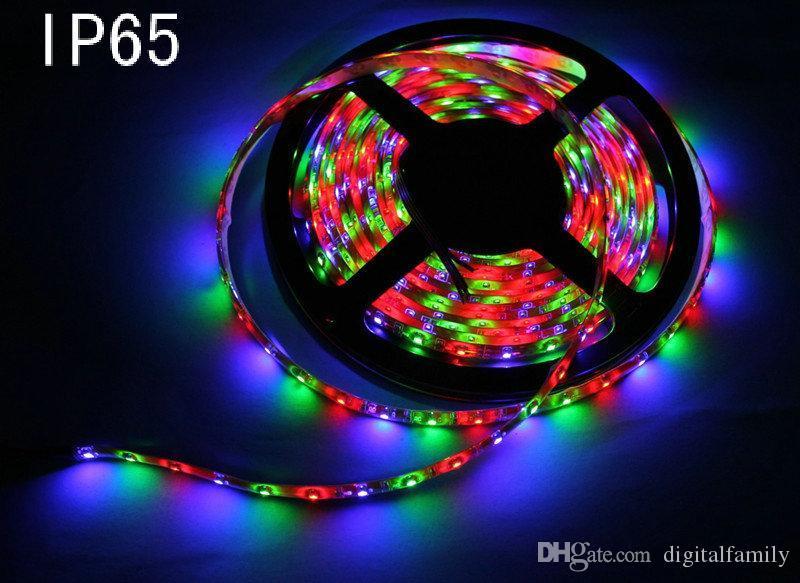 2016 3528 SMD防水60 LEDSM 300LEDS暖かいクールな白赤緑色の黄色いRGBの柔軟なLEDストリップライト44キーIRリモート+ 12Vの電力