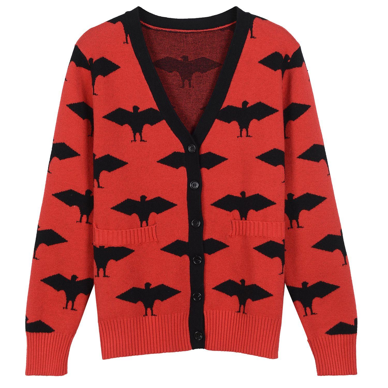 2018 2017 Autumn Red Bat Print Autumn Men'S Cardigan Brand Same ...