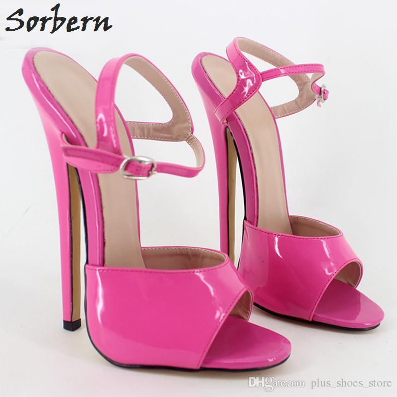 Shiny Patent Leather Ankle Straps Open Toe Ultra High Heels 2017 New Women Sandals Platforms Sexy 18Cm Heels Women Sandals Ladies Sandals