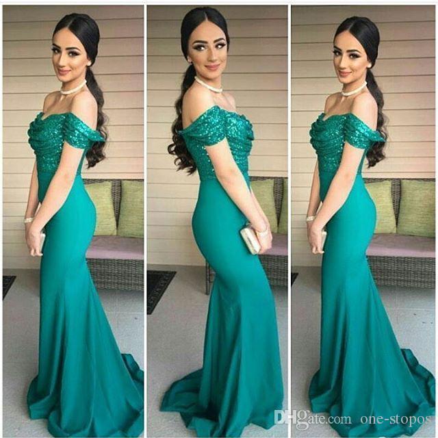 2017 Hunter Verde Mermaid Prom Dresses Top Paillettes off Spalla Abiti Da Sera Formali abiti da festa Sweep Train Party Dress