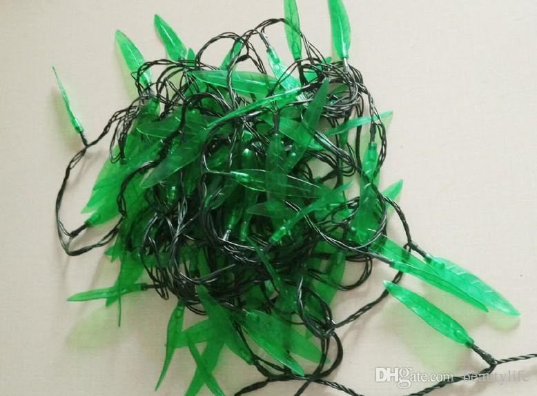 10 м строка праздники листья огни Зеленый лист Навидад светодиодные рождественские украшения дома сад AC 110 в-240V темно-зеленый шнур