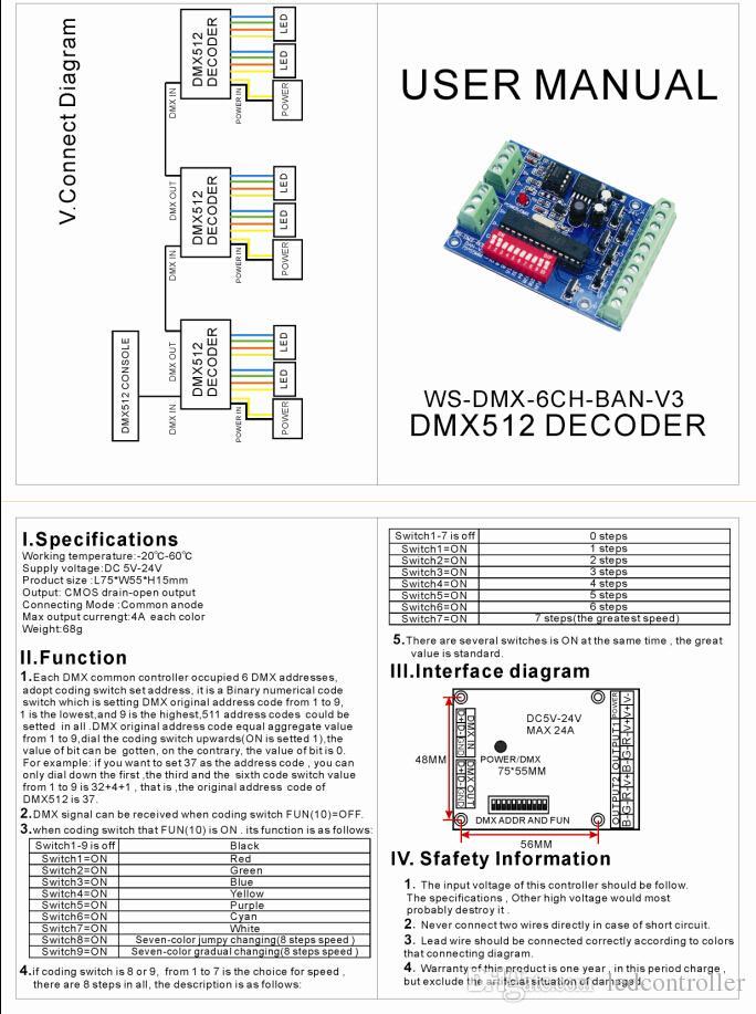 6 채널 DMX 512 디코더, LED 6 채널 2 그룹 RGB 출력 컨트롤러, DC5-24V DMX512 드라이브