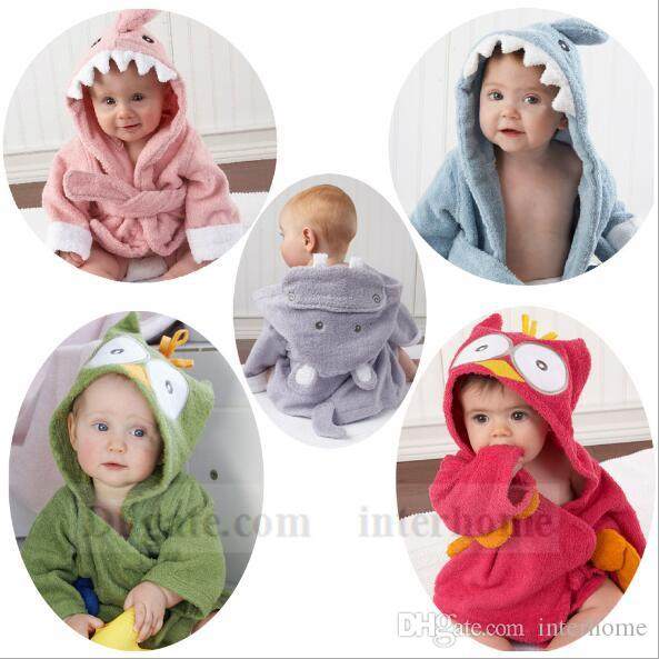 5ea0d83248 2019 Baby Animal Bathrobe Cartoon Bath Towel Hooded Bath Robes Terry Wrap  Shark Poncho Fox Cloak Blankets Cow Pajamas Sleepwear Bath Gown B1104 From  ...