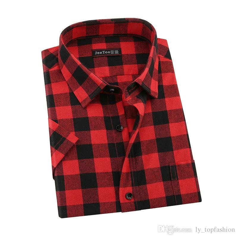 db2e19040a0 2019 2017 New Brand Red And Black Plaid Mens Shirts Short Sleeve Mens  Casual Shirts Summer Cotton Camisa Plaid Men Shirt Plus Size 5XL From  Ly topfashion