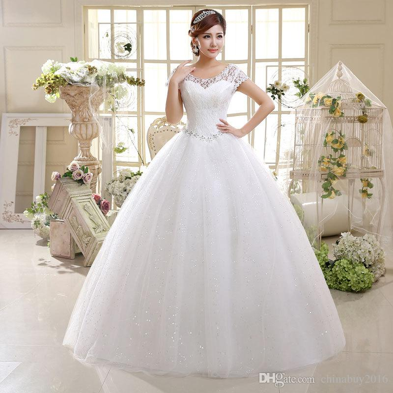Ball Gown Princess Lace Wedding Dresses 2016 Cheap A Line Scoop Organza  Brides Dresses Bridal Gowns Bridal Gown Sale Cheap Wedding Dresses Usa From  ...
