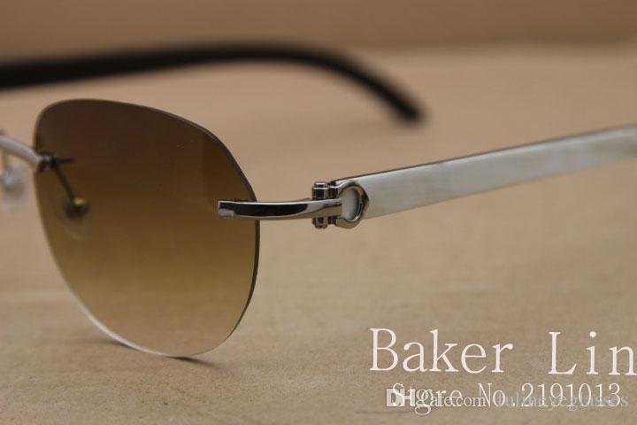 2020 New Randlos T8300829 Schwarz Weiß Buffalo Horn-Sonnenbrille Frauen Männer Sonnenbrille im Freien Glas C Dekoration Größe Fährt: 54-18-140mm