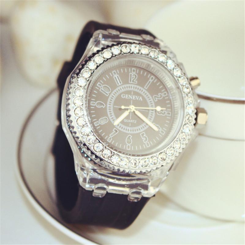 montre de sport lumineuse de luxe led lover watch boutique montres diamant femmes montre de poignet montres silicone jelly montres pour les enfants 566