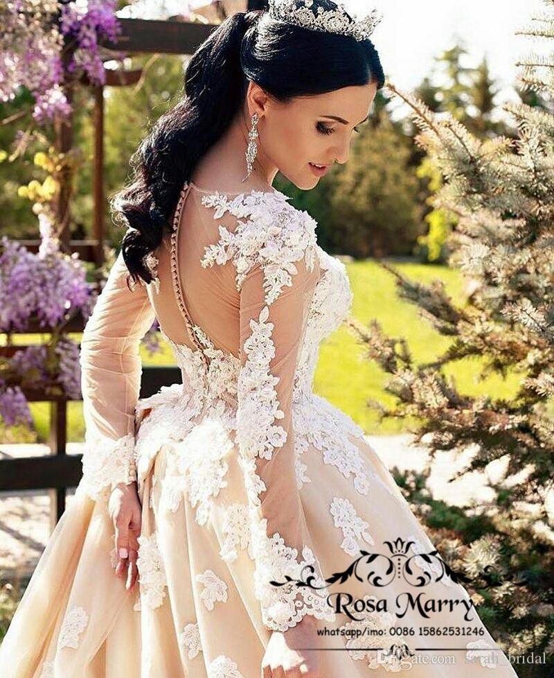 Abiti da sposa a maniche lunghe di Champagne Paese 2019 Una linea Illusion Vintage Lace 3D Floral Plus Size Arabo Dubai Kaftan Modest Abiti da sposa