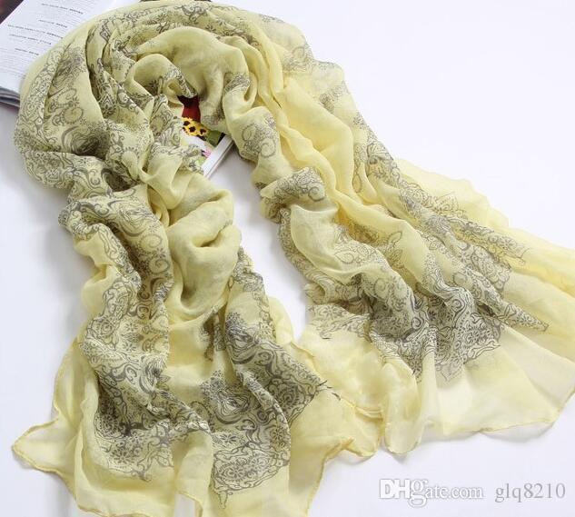 Neue Weinlese-Silk Schals-blaue und weiße Porzellan-lange Schalchiffon-Schals Sexy Druckfrauen Weihnachtsgeschenke Mehrfarben/