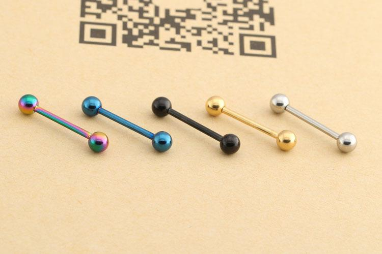 Tongue Rings Body Jewelry 14/16/19mm 316 Titanium Steel Lip Tongue Ring Bar Belly Body Piercing Jewelry Cool Fashion Jewelry Healty Material