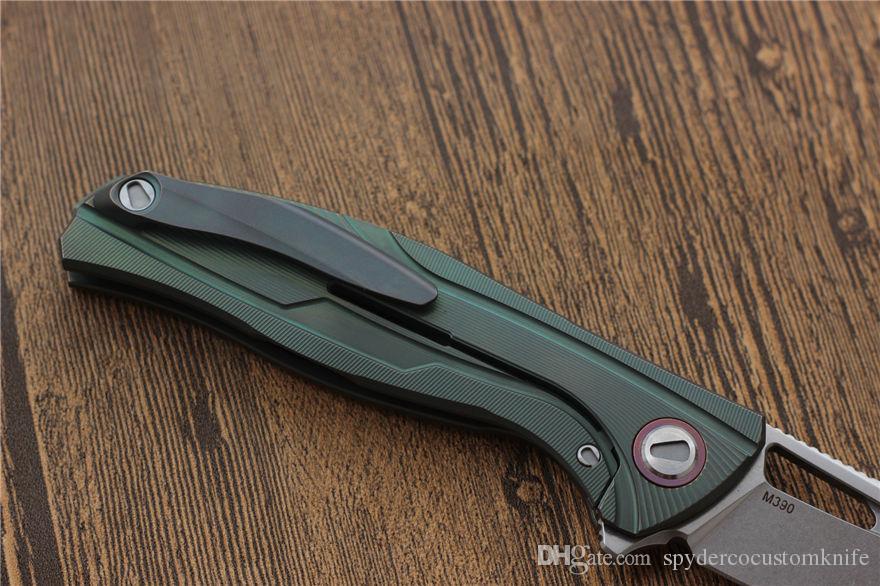 VESPA F7 Spitzenmesser Klinge: M390 Satin Griff: TC4 Lager Camping Jagd Taschenmesser EDC Werkzeuge Weihnachtsgeschenke scharf Klappmesser