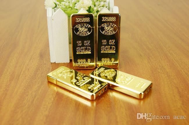 La lega A1121 lingotti d'oro 297 accendini fiamma personalità creativa sottile modelli BRIC oro portatile gli uomini Spedizione gratuita inviare