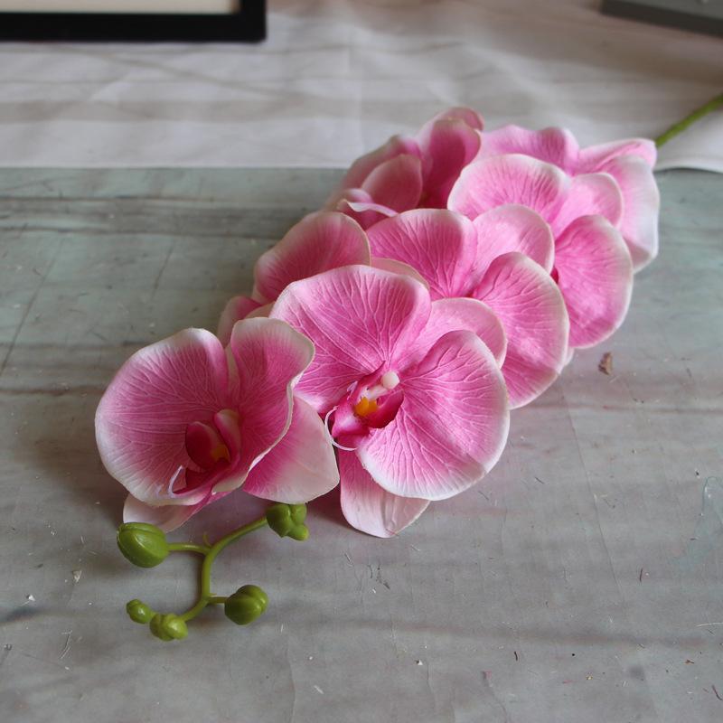 새 도착 실크 단일 줄기 봄 시리즈 난초 인공 난초 호 접 결혼식 중심 5 색