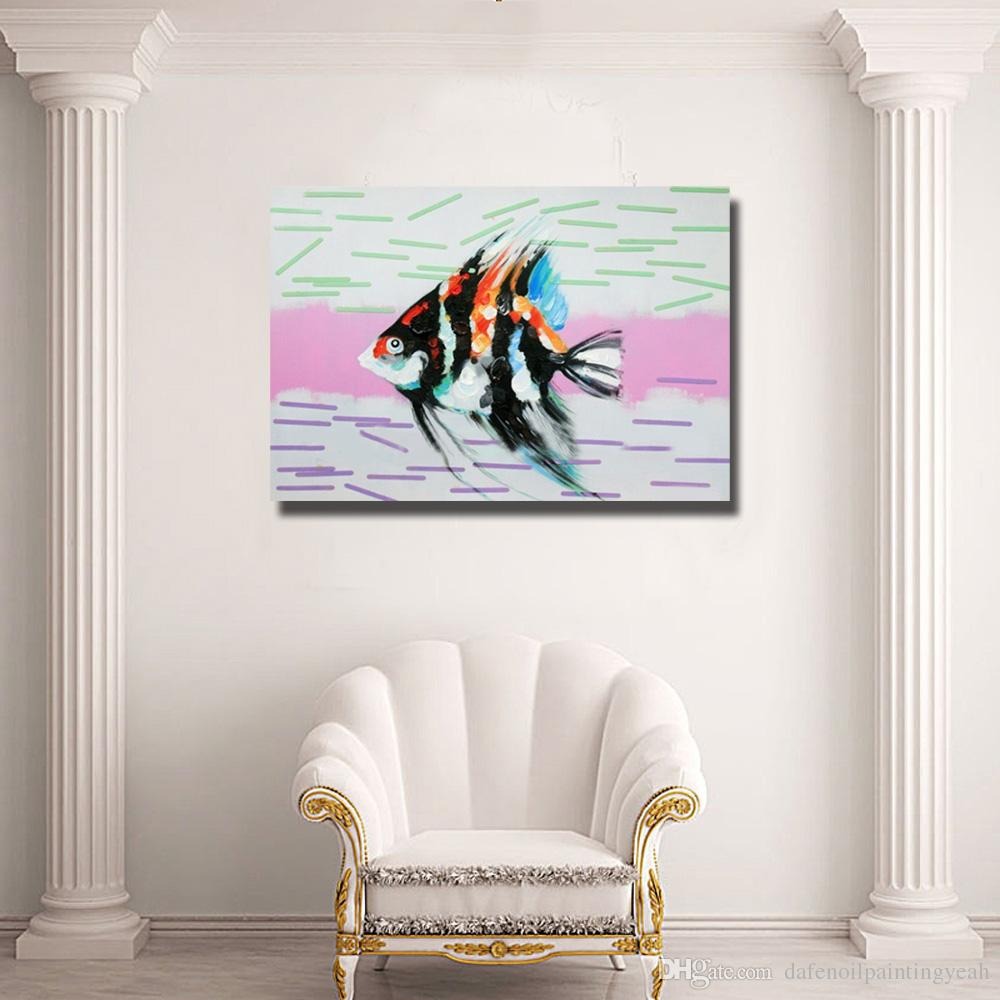 Home Wall Art Pictures For Living Room Decoration Hand Painted Modern Abstract Fish Oil Painting Canvas Art No Framed