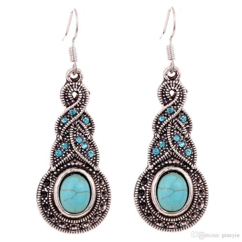 wholesale freies Verschiffen Türkis V-förmiger blauer Kristall eingelegter Türkis-Halsketten-Ohrringe stellte Art und Weiseschmucksachen TS0001 ein