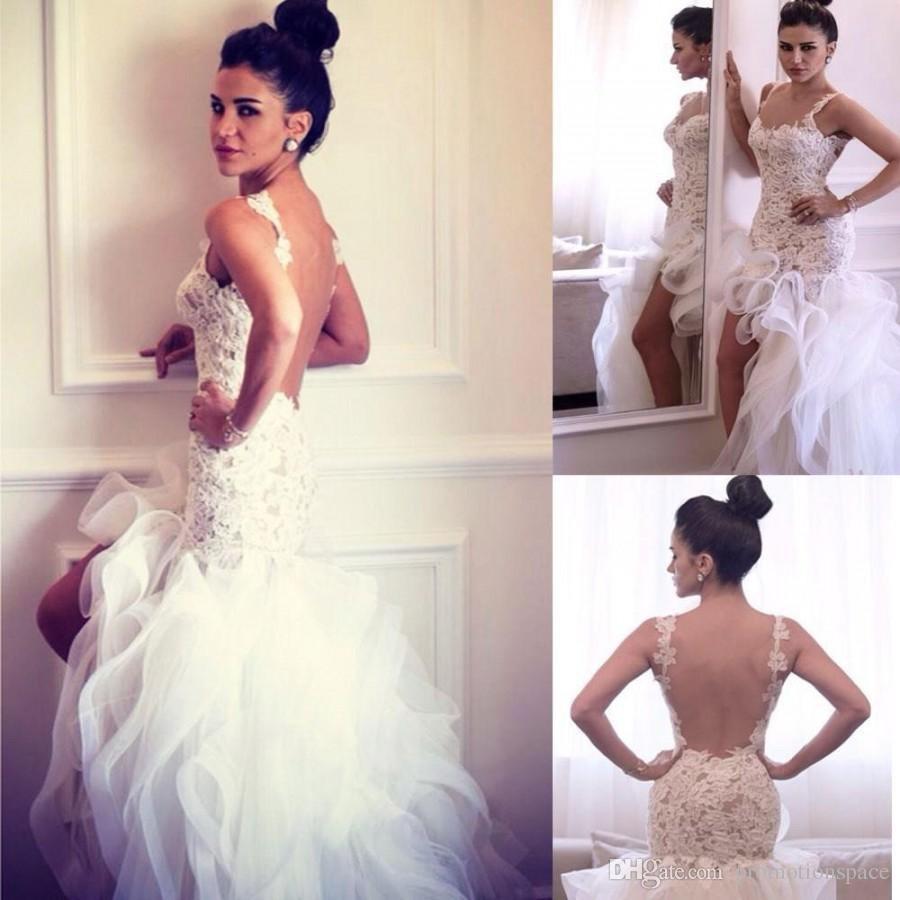 Элегантные высокие спинки свадебные платья 2016 сексуальные бретельки с аппликациями оборками тюль короткое пляжное свадебное платье