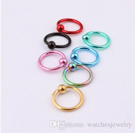 All'ingrosso-OP-Mix Colore 16G titanio anodizzato in rilievo Bead Ring sopracciglio capezzolo Labret Lip Nose Ring Piercing gioielli corpo spedizione gratuita