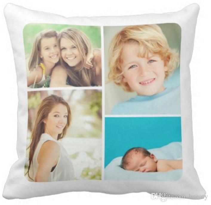 Kundenspezifisches Familienfotocollagenkissen 50% Baumwolle und 50% Leinenmaterialfarbe wie gezeigt 16x16inch 18x18inch 20x20inch