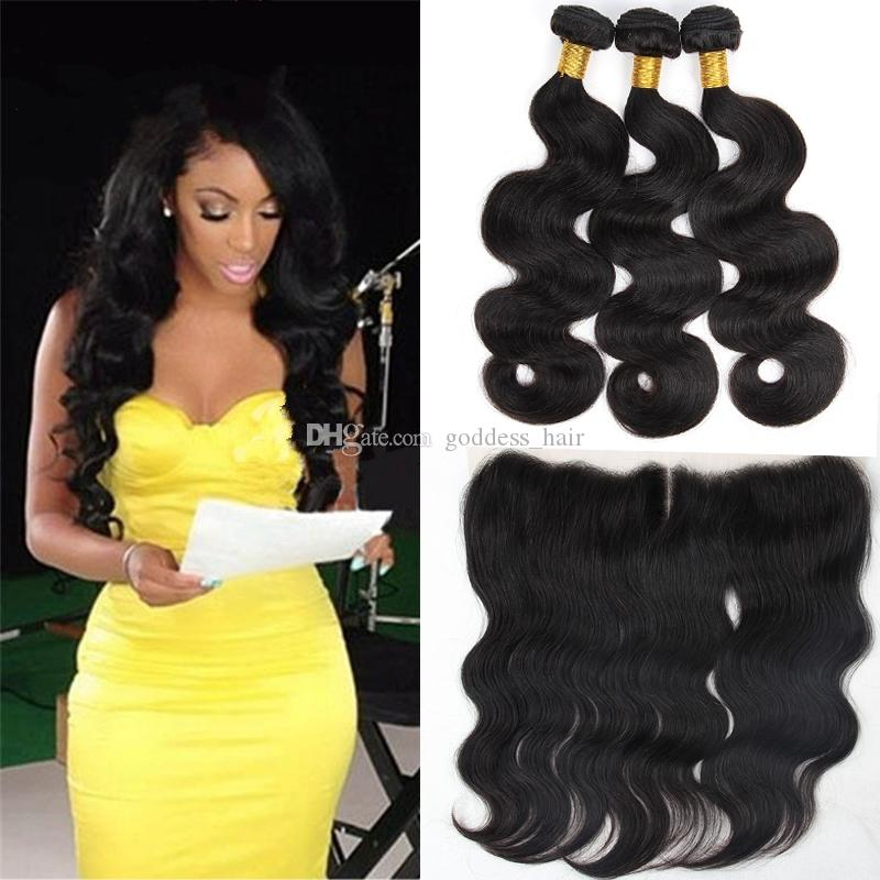 Beat Selling 9A Peruvian Body Wave 3 Bundles With Lace Frontal Closure Human Hair Weaves With Ear to Ear Full Lace Frontals