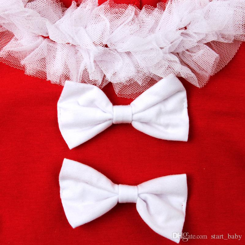 Girls Christmas lace tutu dress sets short sleeve skirt+hat kids bow lace Xmas outfits Party performance clothing for 2-7T