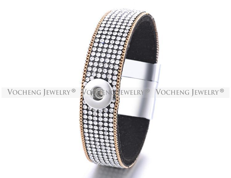 VOCHENG NOOSA Soft Fabric 1-Snap Pulsera con incrustaciones CrystalGold plateado cadena 12mm Imán Broche intercambiable botón joyería NN-414