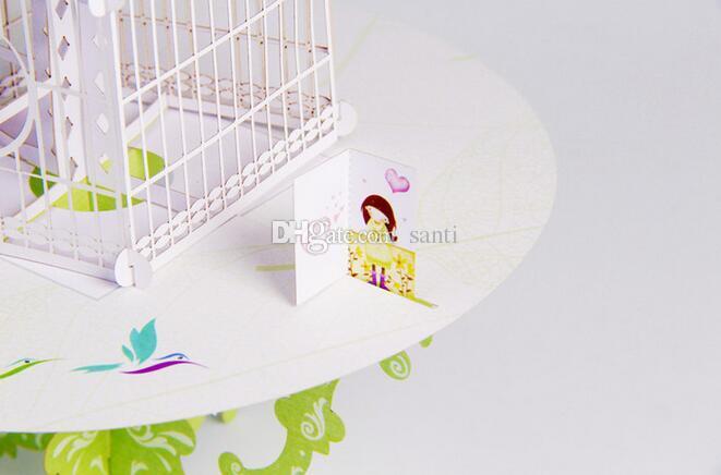 Nuevo Birdcage Laser Cut 3D pop up papel corte por láser manualidades pantalla Tarjetas de felicitación hechas a mano personalizadas Regalos de feliz cumpleaños Postales