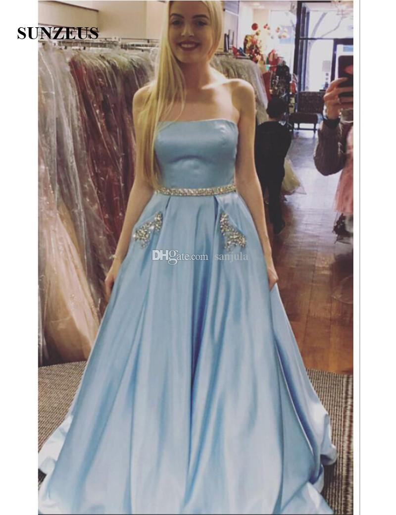 Strapless A Line Prom Dresses Long Beaded Waist Sequins Blue Satin ...