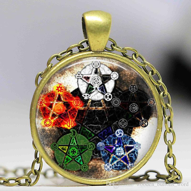 Drop shipping Wholesale Glass Dome Fashion Elements Pentagram Wicca Pendant Necklace Wiccan Jewelry Occult Charm women gift