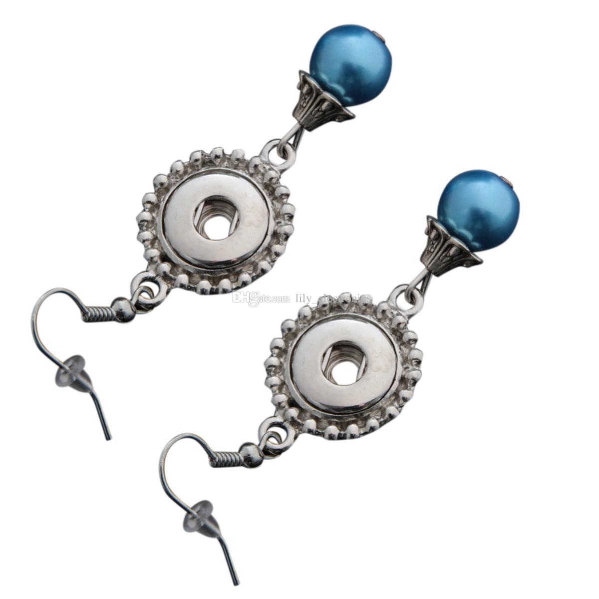 Dangle Hook Charme Boucles D'oreilles Avec Multi-couleurs Perle Fit DIY 12mm Boutons-pression Avec Dos De Sécurité