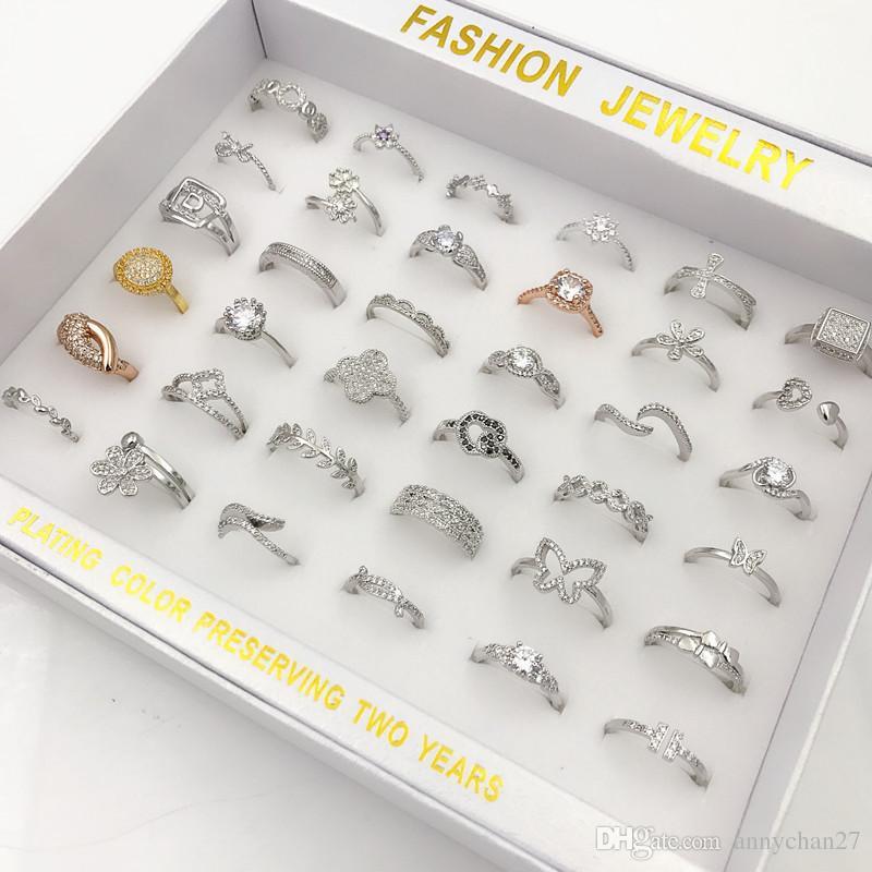 Nuova personalità anello di coda Bella grande ampio diamante crytal rhinestone anello di fascino argento k oro mix stili moda hot monili coreani gratis DHL