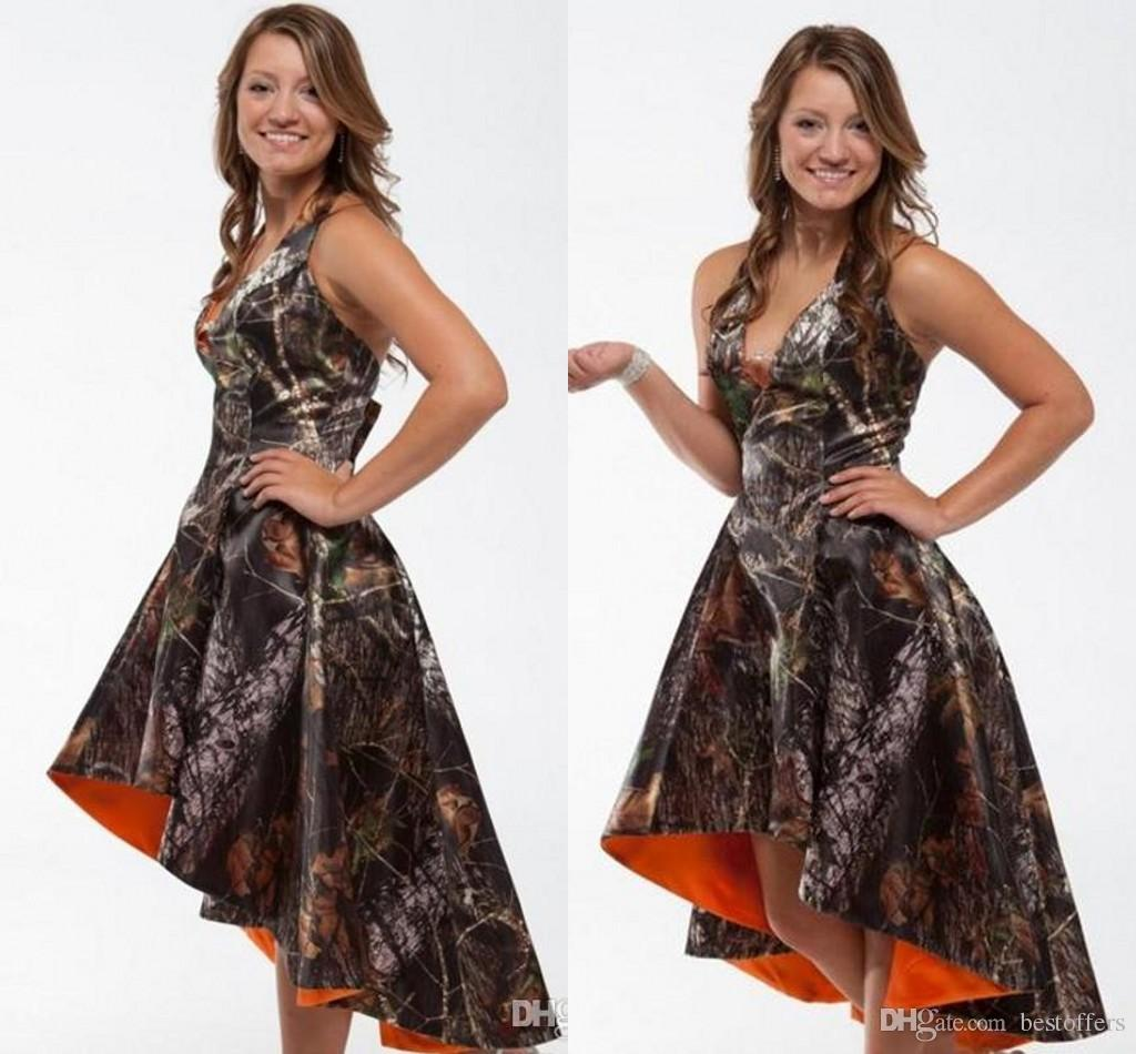2016 cheap camo short bridesmaid dresses summer halter orange hi 2016 cheap camo short bridesmaid dresses summer halter orange hi lo bridesmaids gowns custom made for wedding party girls casual bridesmaid dresses fall ombrellifo Image collections