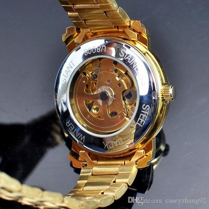 Mens Gold Skeleton Steel Self Mechanical Watch fashion steel men/women clock winner brand stylish design wrist dress skeleton watches gift